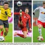 Le sprint final est relancé en Bundesliga. Si le titre tend les bras au Bayern Munich de Robert Lewandowski (au centre), Borussia Dortmund, avec Jadon Sancho (à gauche), et Leipzig, avec Timo Werner, n'ont pas abdiqué. KEYSTONE