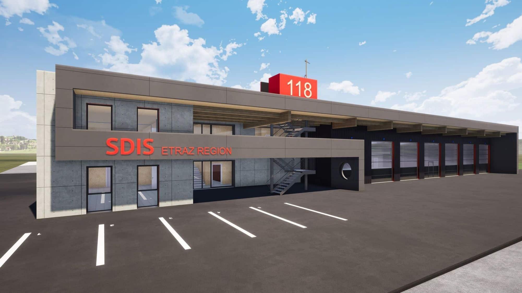 La nouvelle caserne devrait voir le jour courant 2021 sur le site En Chetry, à côté de la déchetterie intercommunale. Egger-architecte