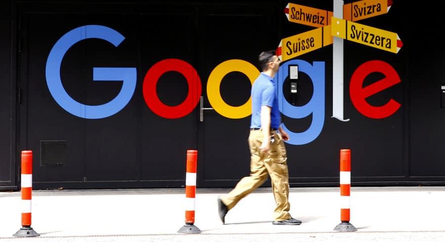Le logo de Google à Zurich, en 2020. — © Arnd Wiegmann/Reuters