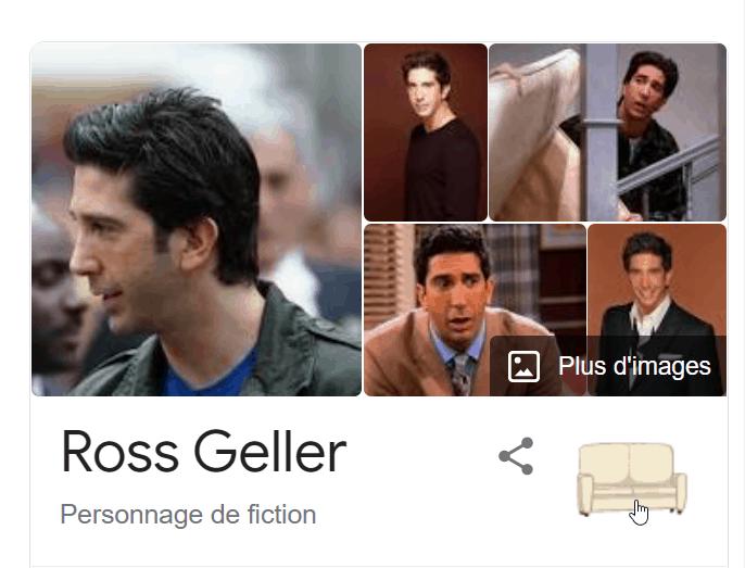 """Tapez """"friends ross"""" dans Google et cliquez sur le canapé."""