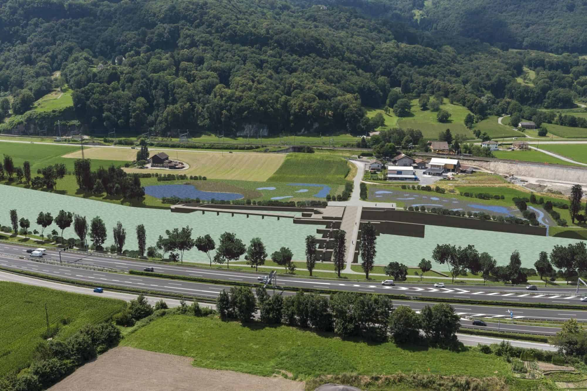 Le projet de barrage est envisagé à la hauteur de Bex et de Saint-Maurice. DR – MBR SA