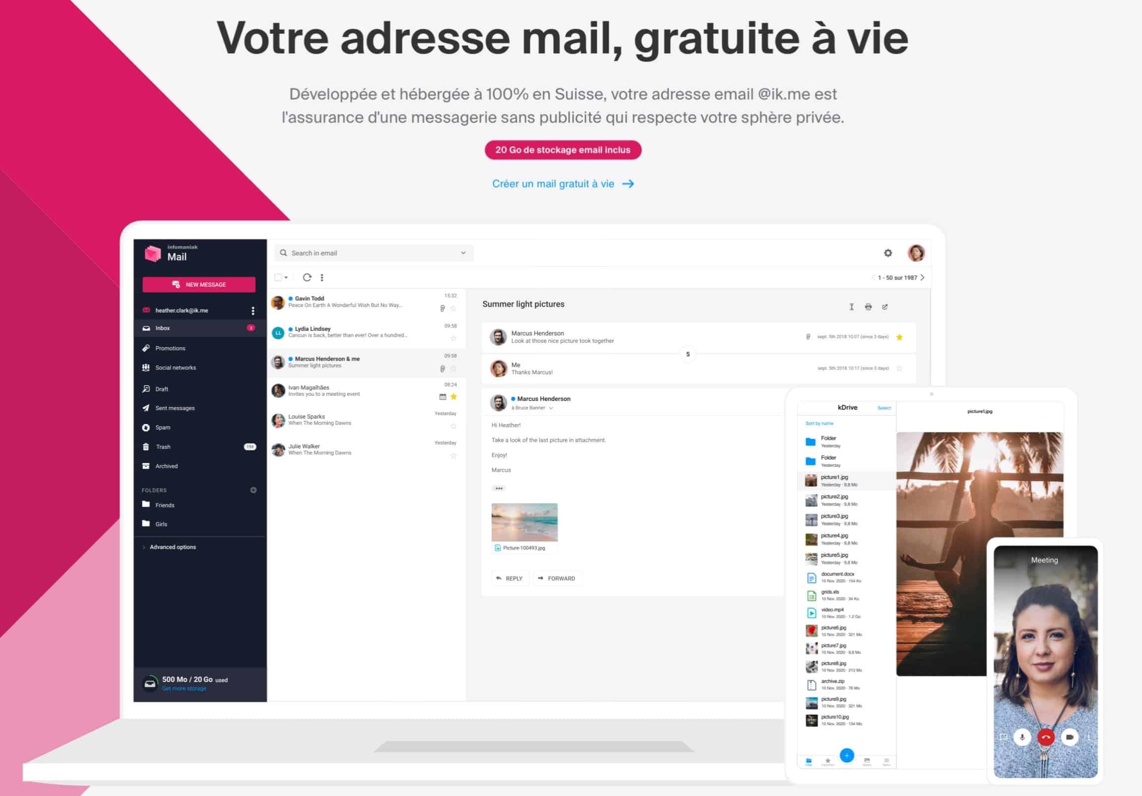 Infomaniak propose un compte mail gratuit et hébergé en Suisse