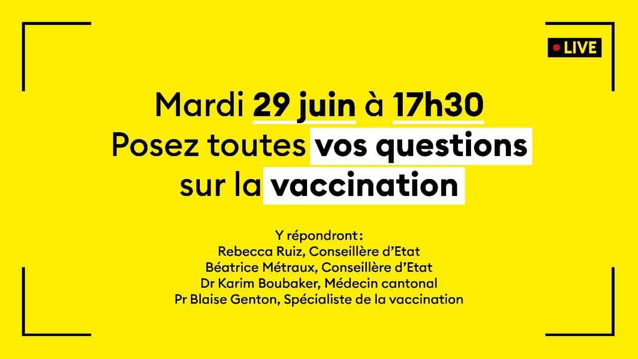 Posez toutes vos questions sur la vaccination ! – 29 juin 2021 dès 17h30